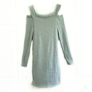 Cold Shoulder Light Gray Long Sleeve Mini Dress